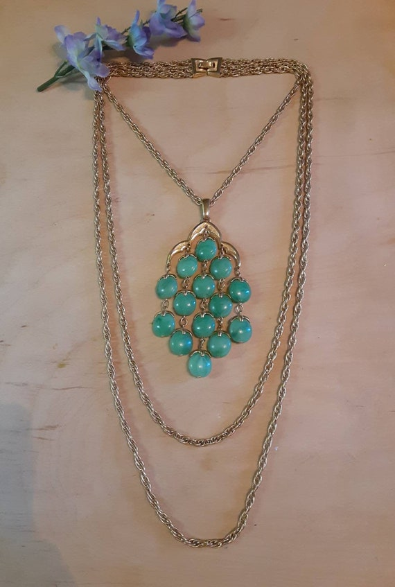 Trifari Green Lucite Waterfall Necklace