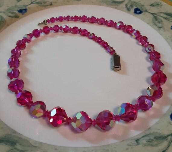 Dark Pink Raspberry Crystal Bead Necklace