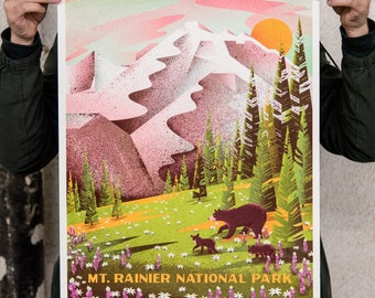 "Mt Rainier National Parks screenprinted poster - 18"" x 24"""
