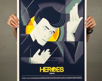 "David Bowie Heroes Tribute - Screenprinted poster - 18"" x 24"""