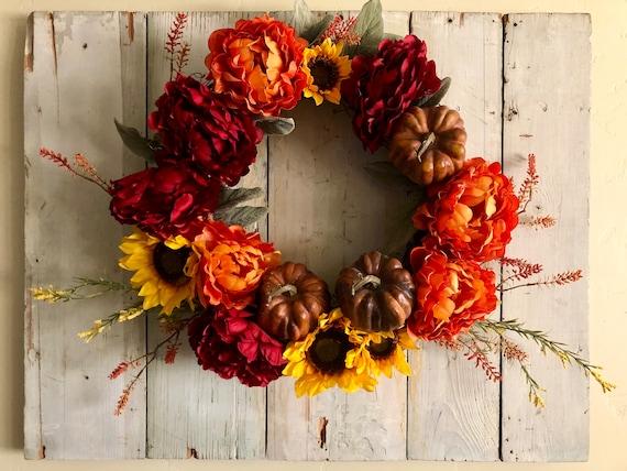 Fall Pumpkin Sunflower Silk Floral Wreath