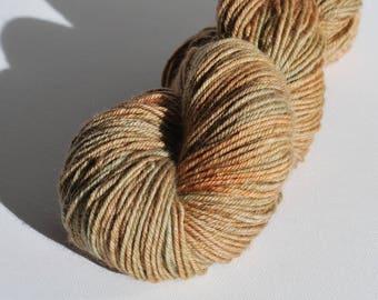Arbutus West Coast inspired hand painted yarn, Superwash Merino, worsted yarn, 4 oz, 200 yards, brown, earthy, green, natural, organic