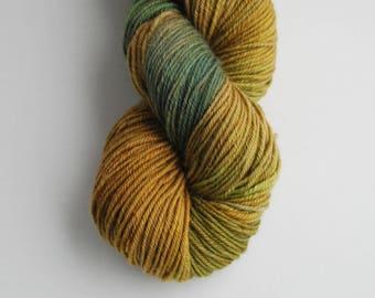 Mea Kelpa West Coast inspired hand painted yarn, Superwash Merino, worsted yarn, 4 oz, 200 yards, brown, earthy, green, natural, organic