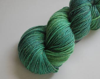 Literary Inspired SW Merino Stellina sock, 4 oz, 425 yards, fingering, painted, gold, green, forest, emerald, tonal, gradient, teal