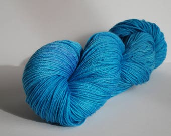 Music Inspired hand dyed sock yarn, Superwash Merino Nylon, 420 yards, Dotan, blue, aqua, river, lake, bright, tonal, synesthesia, bold, sky