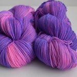 Violet Delights, Hand painted Sock Yarn, SW Merino, heel the sole, fingering yarn, 420 yards, pink, purple, puns, Shakespeare, violet, neon