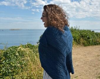 Navy Wet Coast Shawl Kit, Malabrigo Rios, Knitters Pride Circular Needles, Pattern, DIY, shawl kit, Gift for Knitters, Blue, Paris Night