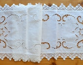 Crochet lace Pure Linen Handmade Super extra Long Table Runner Dresser Scarf 14 x 72 inches Oblong tablecloth White