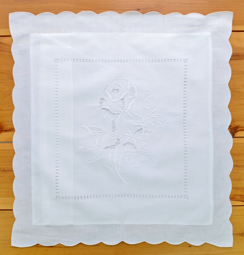Hand Embroidered Rose 22 Square Pure Linen White Throw Pillow Case Square Pillow Cover Shabby Chic Boudoir PillowCushion Cover