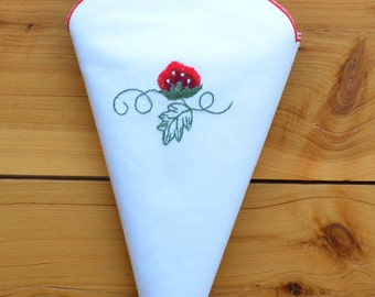 6 or 12 Cloth Napkin Set, Embroidered Strawberry Fancy Party Wedding Events Christmas Decoration