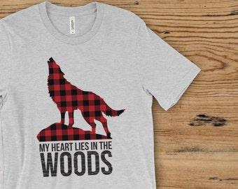 Wolf Shirt - Wolf tshirt - wolf tee -red buffalo plaid - My heart lies in the woods - Lumberjack - Outdoors - hiking shirt - camping shirt