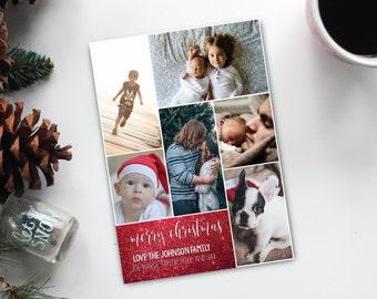 Multi Photo Christmas Card - 6 photo christmas card - Merry Christmas - holiday card - christmas photo card - photo card - photo collage