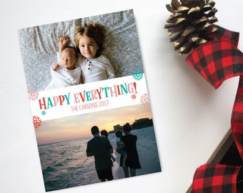 Happy Everything! Modern Christmas card  - Photo Christmas Card - Christmas Card - Photo Holiday card - photo card - christmas photo card
