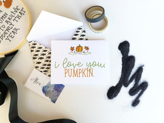 I Love You Pumpkin Halloween Card Happy Halloween Cards Etsy