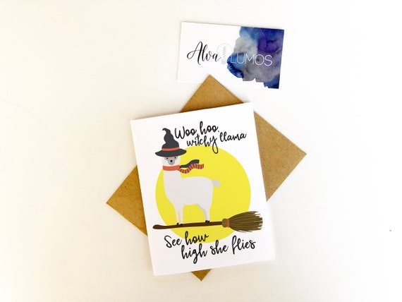 Witchy Llama Halloween Card Happy Halloween Llama Cards Etsy