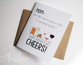 Cheers! Mothers day card - funny mothers day card - mother's day card - funny card - mothers day - funny mother's day - card for mom