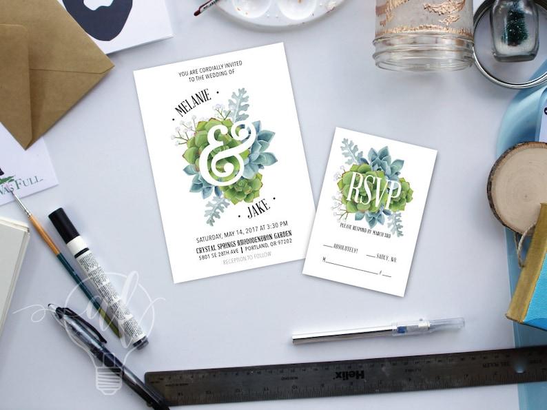 succulent wedding succulent invitation watercolor succulent spring wedding Watercolor Succulent Wedding Invitation garden wedding