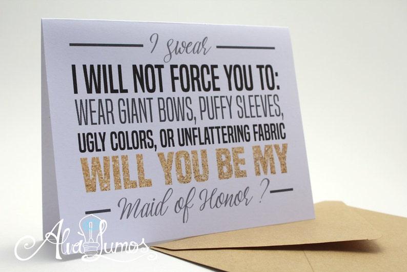 funny bridesmaid proposal maid of honor card funny wedding card be my bridesmaid wedding card Funny maid of honor card proposal card