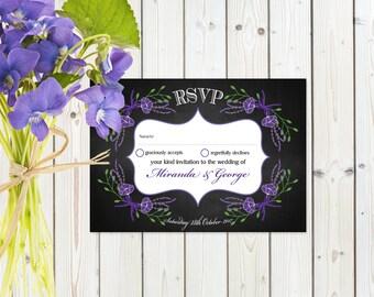 Fantasy Purple Floral RSVP Postcard on Chalkboard Card