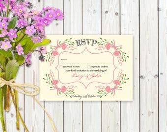 Fantasy Pink Floral RSVP Postcard on Ivory card