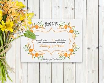 Fantasy Orange Floral RSVP Postcard on White card