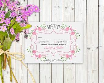 Fantasy Pink Floral RSVP Postcard on White card