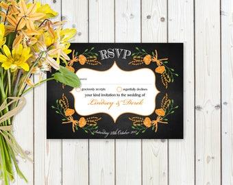 Fantasy Orange Floral RSVP Postcard on Chalkboard Card