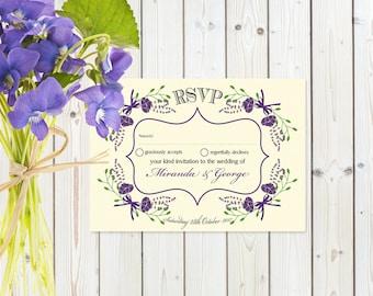 Fantasy Purple Floral RSVP Postcard on Ivory card