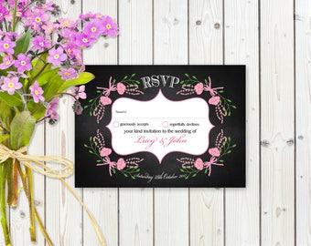 Fantasy Pink Floral RSVP Postcard on Chalkboard Card