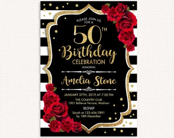 50th Birthday Invitation ANY AGE Black White Stripes Glitter Gold Red Roses Floral Custom DIGITAL Printable Invite