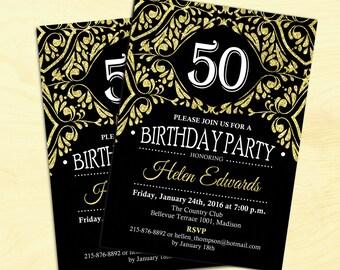 50th Birthday Invitation Any Age Gold Black Adult Elegant Invite Digital Printable Customized