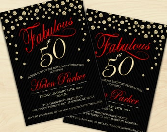 50th Birthday Invitation 30th 40th 60th 70th 80th 90th Black Red Gold Digital Printable Customized