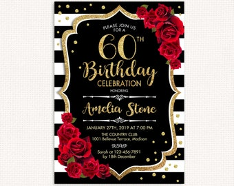 60th Birthday Invitation ANY AGE Black White Stripes Glitter Gold Red Roses Floral Custom DIGITAL Printable Invite