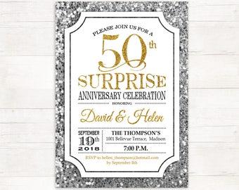 surprise 50th wedding anniversary invitations etsy