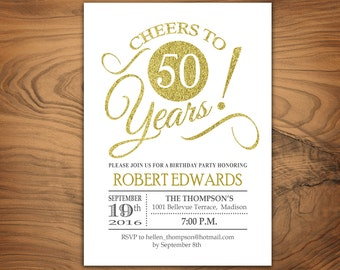 50th Birthday Invitation Any Age Cheers To 50 Years Glitter Gold And White Printable Digital Invite
