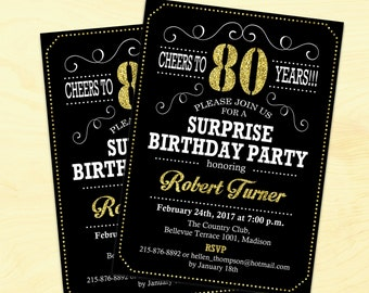 Surprise 80th Birthday Invitation 90th Any Age Cheers To 80 Years Glitter Gold Black Elegant Printable Digital Invite