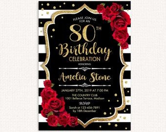 80th Birthday Invitation ANY AGE Black White Stripes Glitter Gold Red Roses Floral Custom DIGITAL Printable Invite