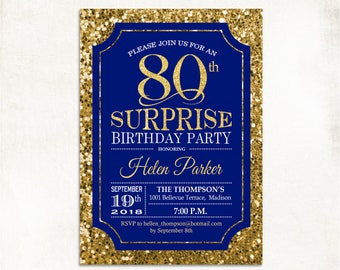 Surprise 80th Birthday Invitation 70th 90th Any Age Glitter Gold Royal Blue Navy For Men Or Women Digital Printable Invites Custom