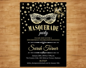 masquerade party invitation mardi gras mask masquerade birthday invitation black gold diamonds printable invitation customized