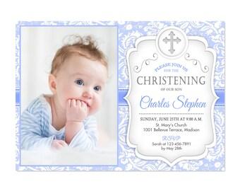 baby boy christening invitation etsy