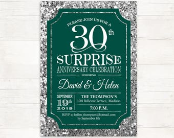 surprise 30th wedding anniversary invitation emerald green glitter silver digital printable invitation customized