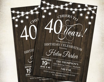 40th Birthday Invitation Rustic Any Age Cheers To 40 Years Wood Printable Fairy String Lights Digital Invite
