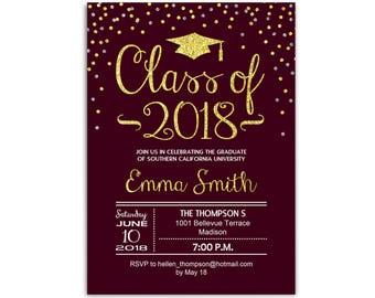 Graduation party invitations etsy maroon graduation party invitation grad invite burgundy glitter gold class of 2018 printable digital invites filmwisefo