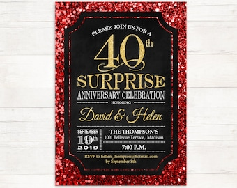 surprise 40th wedding anniversary invitation 45th red gold etsy