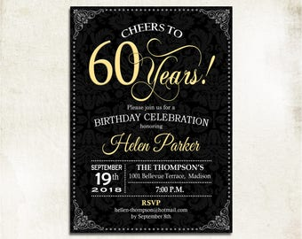 60th Birthday Invitation Any Age Cheers To 50 Years Gold Black Damask For Women Or Men Elegant Printable Digital Invite