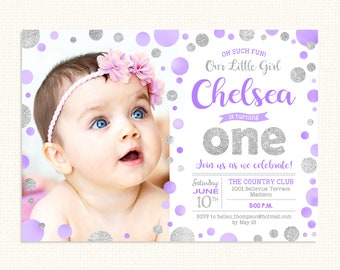 First Birthday Invitation With Photo 1st ANY AGE Purple Silver Bday Bubble Watercolor Polka Dot Digital Printable Invite
