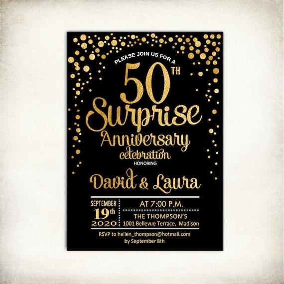 Surprise Gift For Wedding Anniversary: Surprise 50th Wedding Anniversary Invitation. Gold Black