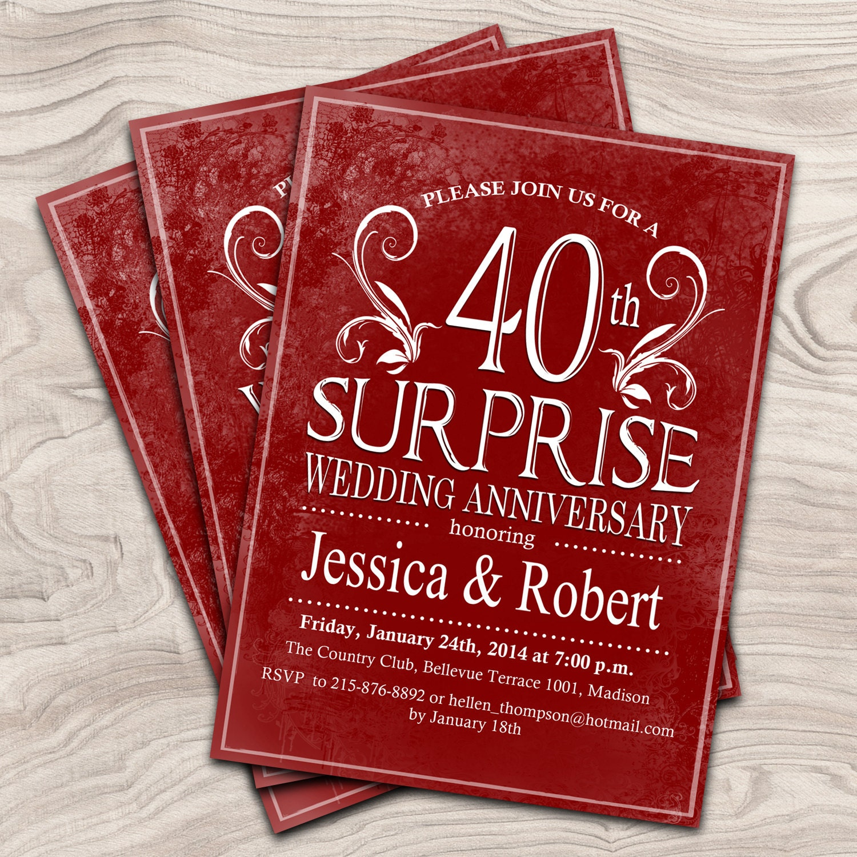 Australian Wedding Anniversary Gifts By Year: Surprise 40th Wedding Anniversary / Digital Printable