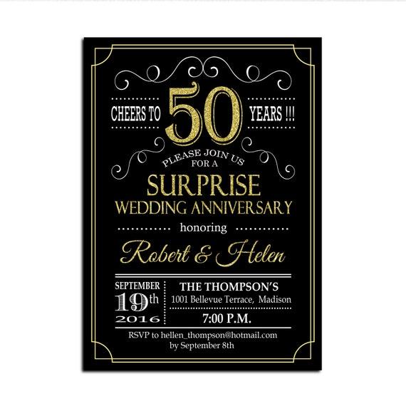 Surprise 50th Wedding Anniversary Invitation Gold Black Etsy