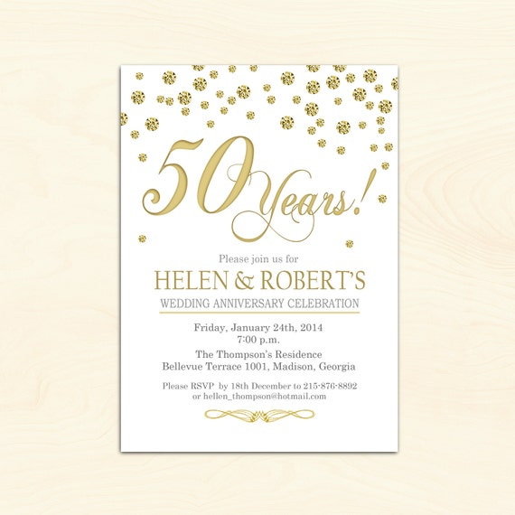 50th Wedding Anniversary Invitations.50th Wedding Anniversary Invitation Confetti Gold White Digital Printable Invitation Customized
